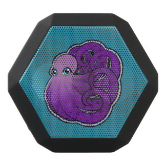 Curled Purple Spotted Octopus Ink Drawing Design Black Bluetooth Speaker