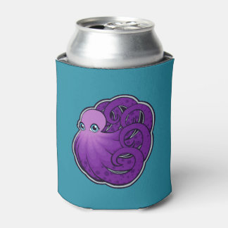 Curled Purple Spotted Octopus Ink Drawing Design Can Cooler