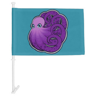 Curled Purple Spotted Octopus Ink Drawing Design Car Flag