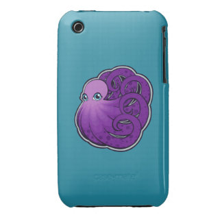 Curled Purple Spotted Octopus Ink Drawing Design Case-Mate iPhone 3 Cases