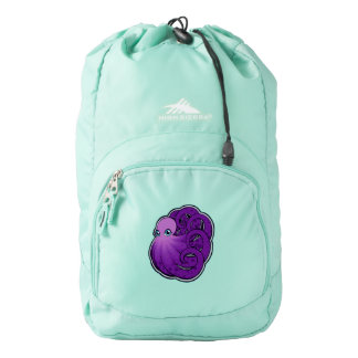 Curled Purple Spotted Octopus Ink Drawing Design High Sierra Backpack