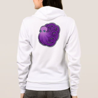 Curled Purple Spotted Octopus Ink Drawing Design Hoodie