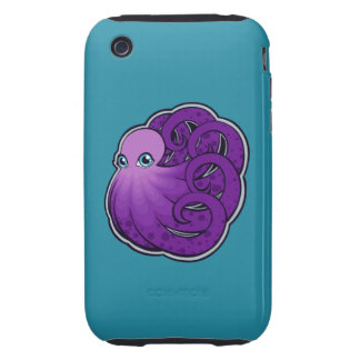 Curled Purple Spotted Octopus Ink Drawing Design iPhone 3 Tough Case