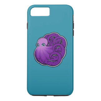 Curled Purple Spotted Octopus Ink Drawing Design iPhone 8 Plus/7 Plus Case