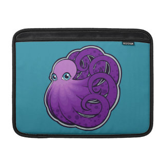 Curled Purple Spotted Octopus Ink Drawing Design MacBook Sleeve