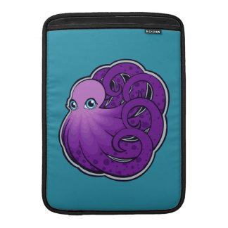 Curled Purple Spotted Octopus Ink Drawing Design MacBook Sleeves