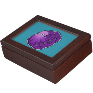 Curled Purple Spotted Octopus Ink Drawing Design Memory Box