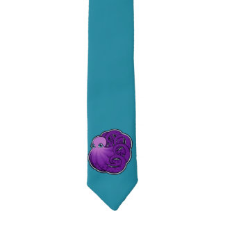 Curled Purple Spotted Octopus Ink Drawing Design Necktie