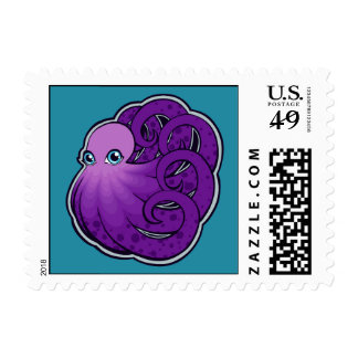 Curled Purple Spotted Octopus Ink Drawing Design Postage