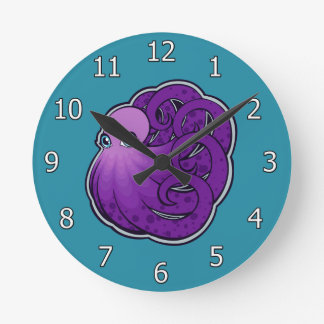 Curled Purple Spotted Octopus Ink Drawing Design Round Clock