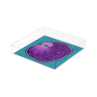 Curled Purple Spotted Octopus Ink Drawing Design Serving Tray
