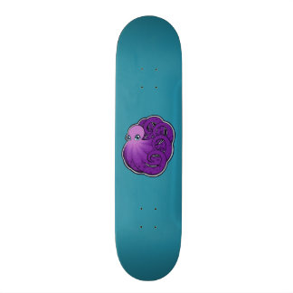 Curled Purple Spotted Octopus Ink Drawing Design Skateboard Deck