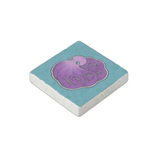 Curled Purple Spotted Octopus Ink Drawing Design Stone Magnet