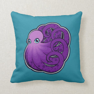Curled Purple Spotted Octopus Ink Drawing Design Throw Pillow