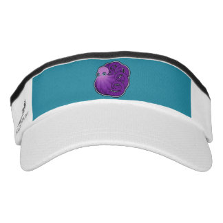 Curled Purple Spotted Octopus Ink Drawing Design Visor