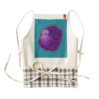 Curled Purple Spotted Octopus Ink Drawing Design Zazzle HEART Apron