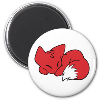 Curled Sleeping Fox 2 Inch Round Magnet