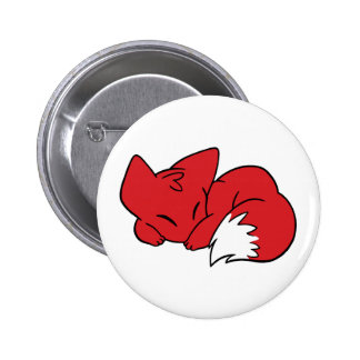 Curled Sleeping Fox 2 Inch Round Button