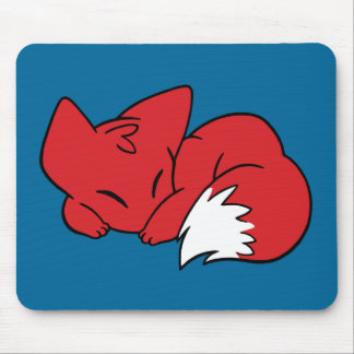 Curled Sleeping Fox Mouse Pad
