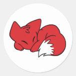 Curled Sleeping Fox Round Sticker