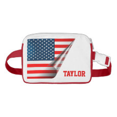Curled Up American Flag Waist Bag