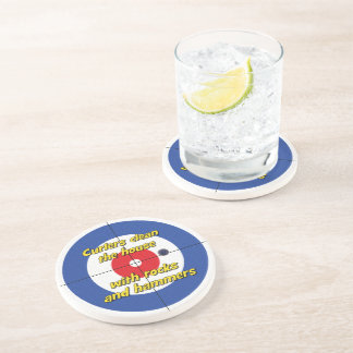 """""""Curlers clean house..."""" Sandstone Coaster -(Blue)"""