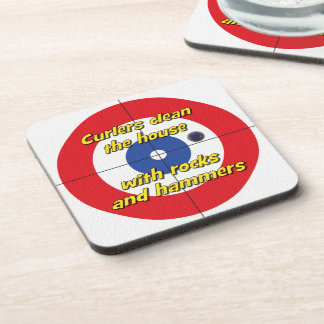 """""""Curlers clean the house..."""" Coasters - (Red)"""