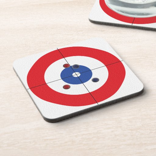 Curler's Drink Coasters - (Red)