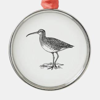 Curlew Bird Illustration Round Metal Christmas Ornament