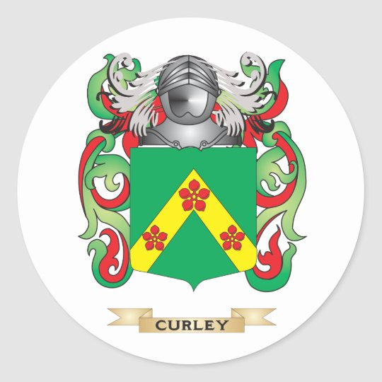 Curley Coat of Arms Classic Round Sticker