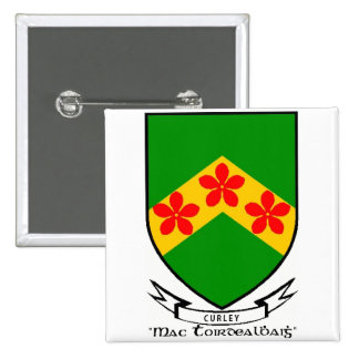 Curley surname coat of arms button/pin button