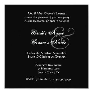 """Curlicue Black and White Wedding Rehearsal Dinner 5.25"""" Square Invitation Card"""