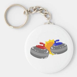 Curling Basic Round Button Keychain