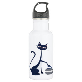 Curling cat stainless steel water bottle