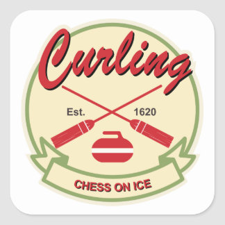 Curling: chess on ice square sticker