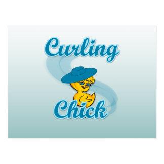 Curling Chick #3 Postcard