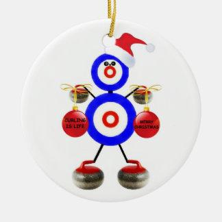 Curling Christmas Ceramic Ornament