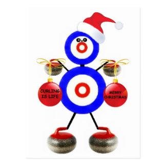 Curling Christmas Postcard