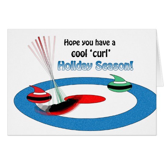 Curling Christmas Stones and Brush Holiday Humor Card