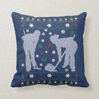 Curling Christmas Throw Pillow