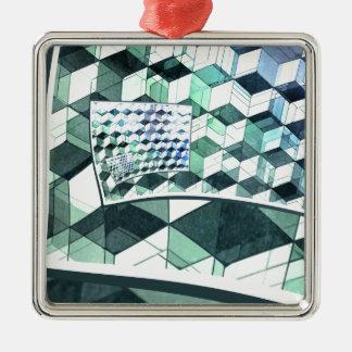 Curling Colorful Cubes Metal Ornament
