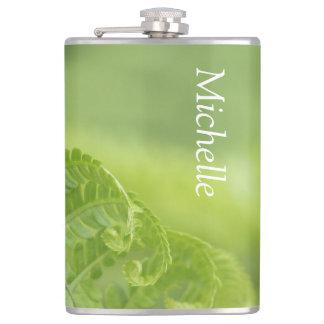 Curling Fern Leaves, Greenery, Blurred Background Hip Flask