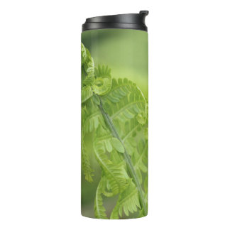 Curling Fern Leaves, Greenery, Blurred Background Thermal Tumbler