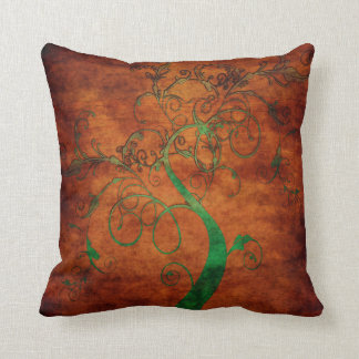 Curling Green Vines on Rustic Brown Throw Pillow