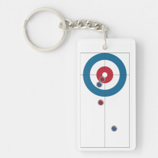 Curling house and rocks key chain