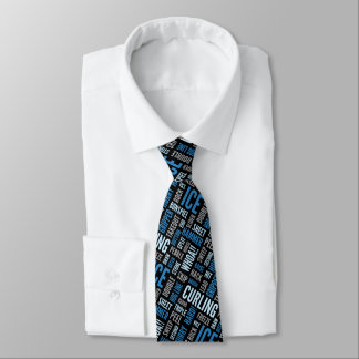 Curling Lingo Neck Tie - Blue and Black