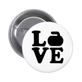 Curling love pinback button