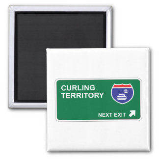 Curling Next Exit 2 Inch Square Magnet