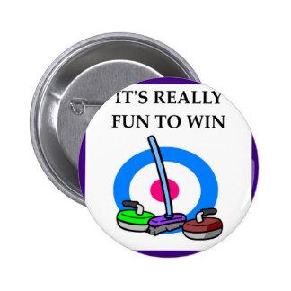 curling pinback button