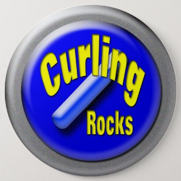 USA Themed Curling Pinback Button